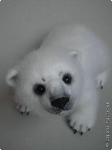 Медвежонок выполнен в технике сухого валяния. Высота 17 см.,длина 15 см. Глазки - стекло, коготки- пластик. фото 2