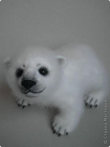Медвежонок выполнен в технике сухого валяния. Высота 17 см.,длина 15 см. Глазки - стекло, коготки- пластик. фото 6