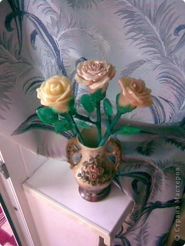 Всем мастерицам привет!!!Вот и закончила я лепить свои розы,мне очень хотелось чтобы они получились больше,чем первые.Это мне удалось,но только все три розы получились разные))) фото 1