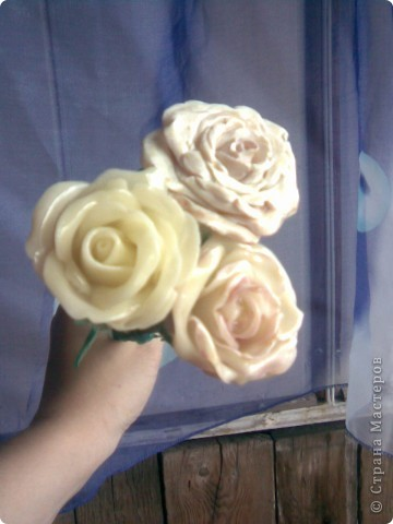 Всем мастерицам привет!!!Вот и закончила я лепить свои розы,мне очень хотелось чтобы они получились больше,чем первые.Это мне удалось,но только все три розы получились разные))) фото 3