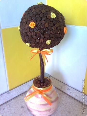 Дерево кофейное - обычное, горшок - баночка с насыпушками, декор - ленты и розы из лент фото 3