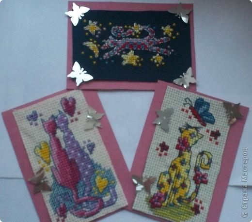 """Маленькая серия карточек с вышивкой крестиком. """"Кошки бывают разные"""". Миниатюрки просто замечательные. Выбирайте.  фото 1"""