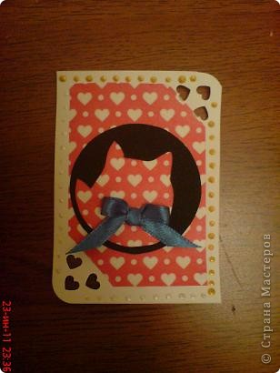 Вот такие они, влюбленные кошечки)))  Задумывались карточки совсем другие...но в процессе работы родились вот  эти фото 5