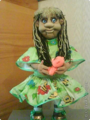 Моя первая кукла по МК pawy,огромное ей спасибо!Правда она здесь без макияжа,сейчас нарумянена и губешки подкрашены. фото 1
