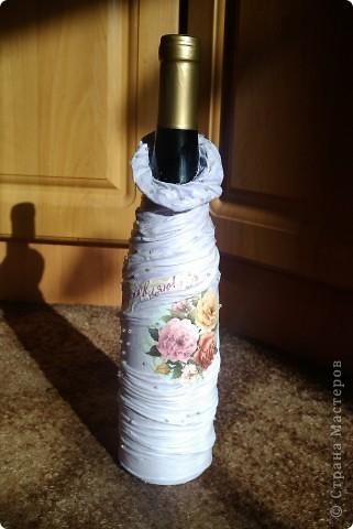 """Проба пера"" в декорировании бутылки.  фото 1"