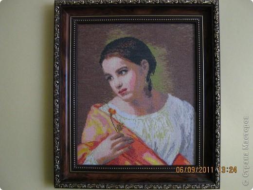 Это первый мой набор и первый портрет. Вышила давно, с большой любовью и на одном дыхании. Кипренский. Бедная Лиза. 1827год. Золотое Руно. фото 1
