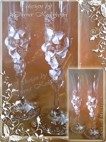 """Свадебные бокалы """"Бабочки"""" и """"Лилии-3"""" фото 2"""