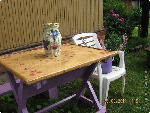 на даче  старый побитый глиняный горшок облагородила вот таким образом оплела и сделала декупаж фото 2