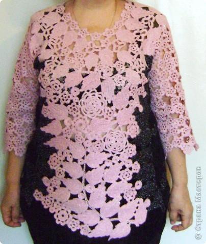 Имитация под блузку с жилетом.Ирландское вязание. фото 1