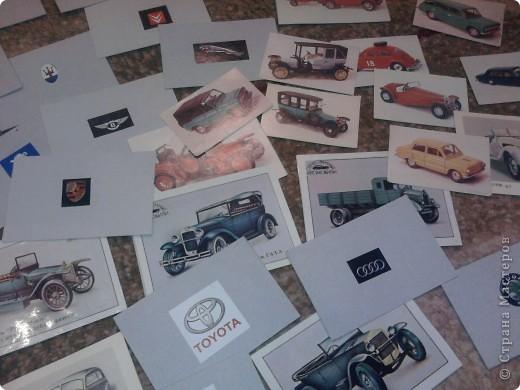 Продолжаю серию наших развивашек-занимашек - Сынуле очень нравится играть в различные лото, и из подручных материалов было создано лото на автомобильную тему: машины, марки производителей. Материал подручный - старые календарики, авто-журналы и вот результат.... фото 3
