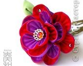 Уважаемые мастера - изготовители канзаши, может кто-нибудь подсказать, каким образом складываются лепестки у данного цветка? фото 5