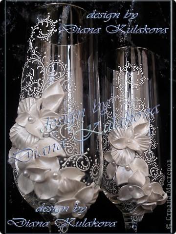 """Свадебные бокалы """"Бабочки"""" и """"Лилии-3"""" фото 6"""
