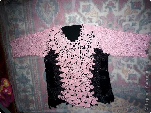 Имитация под блузку с жилетом.Ирландское вязание. фото 5