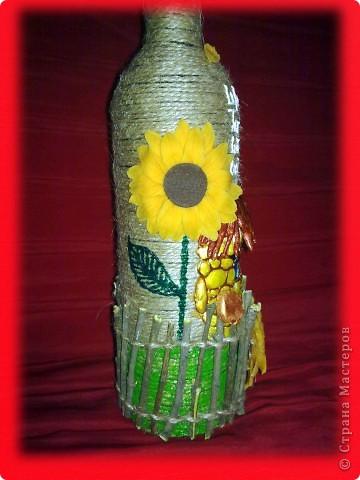 Долго лежала у меня эта бутылочка, вот решила её немного приукрасить)))) Идею где-то в интернете подглядела))) фото 6