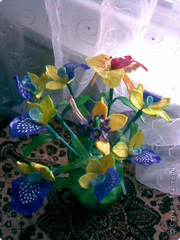 Всем рукодельницам вечер добрый!Вот так сказать,-налепила!!!)))Как назвать цветы не знаю,так как перед лепкой просмотрела кучу МК по орхидеям,ирисам,нарцисам,и вот получился у меня такой букетик,у нас в Запорожье который день дожди,поэтому основной цвет,который преобладает-синий.Да и к тому же насмотрелась как делаются разные шаблоны и сделала сибе немного... фото 3