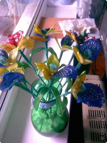 Всем рукодельницам вечер добрый!Вот так сказать,-налепила!!!)))Как назвать цветы не знаю,так как перед лепкой просмотрела кучу МК по орхидеям,ирисам,нарцисам,и вот получился у меня такой букетик,у нас в Запорожье который день дожди,поэтому основной цвет,который преобладает-синий.Да и к тому же насмотрелась как делаются разные шаблоны и сделала сибе немного... фото 4