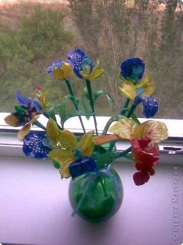 Всем рукодельницам вечер добрый!Вот так сказать,-налепила!!!)))Как назвать цветы не знаю,так как перед лепкой просмотрела кучу МК по орхидеям,ирисам,нарцисам,и вот получился у меня такой букетик,у нас в Запорожье который день дожди,поэтому основной цвет,который преобладает-синий.Да и к тому же насмотрелась как делаются разные шаблоны и сделала сибе немного... фото 1