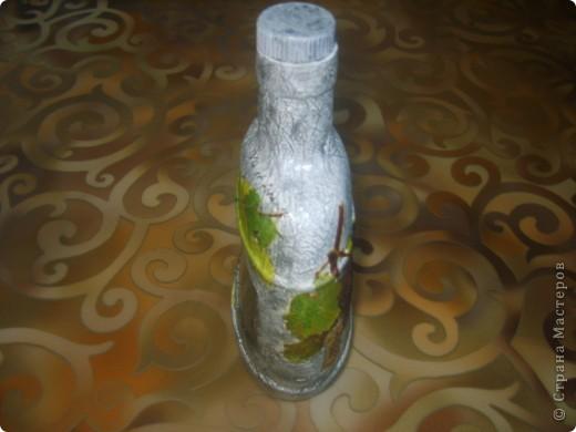 моя первая бутылка с обратным декупажем фото 3