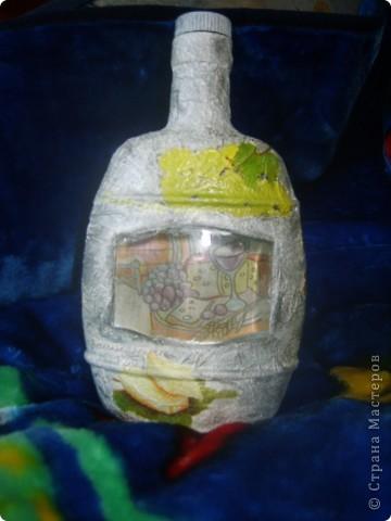 моя первая бутылка с обратным декупажем фото 6