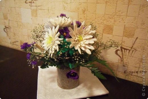 вот и мой букетик цветочков, вдохновленный работами страны мастеров) фото 2