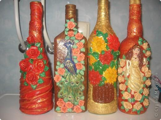 декорирование бутылок соленым тестом фото 1