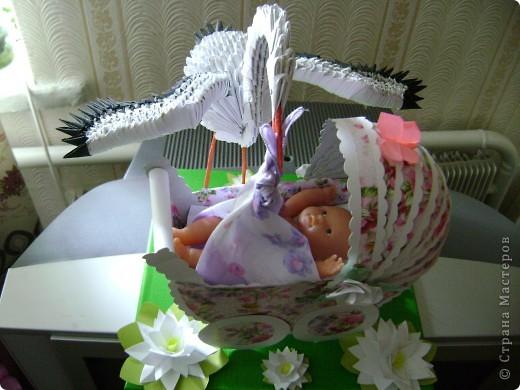 Модульное оригами аист с младенцем мастер класс