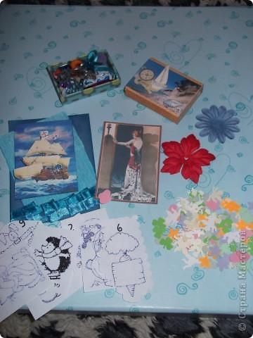 """Сегодня я получила первый коробочек с сокровищами от Оксаночки Ефимовой. Тема """"Морское путешествие"""" Вот такие АТСочки, цветочки и дырокольности. Как же все красиво!!! фото 1"""