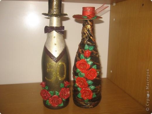 декорирование бутылок соленым тестом фото 2