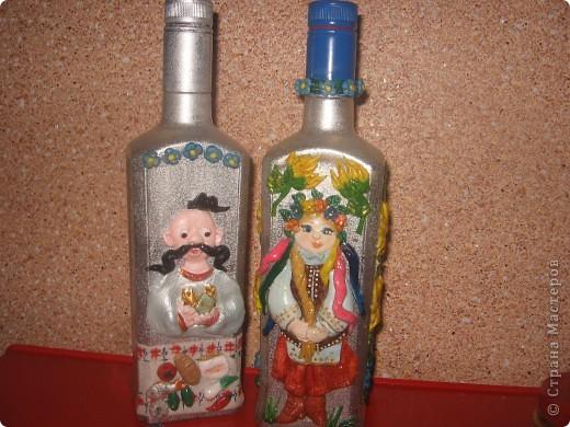 декорирование бутылок соленым тестом фото 6