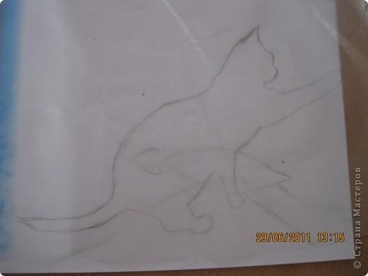 Это пано сделала для своей сестренки, любительницы кошек! Ее кошечка любит играть с бабочками...бабочки объемные и бархатной бумаги...Думаю я ее обрадую! Идея полностью моя, если нужно будет, разъясню как и что я делала!  фото 5