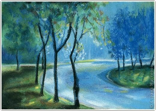 """""""Ночная дорога"""" Видела давно работу на этом сайте, очень понравилось как нарисовано, решила повторить) Жаль, оригинала не сохранилось. фото 1"""