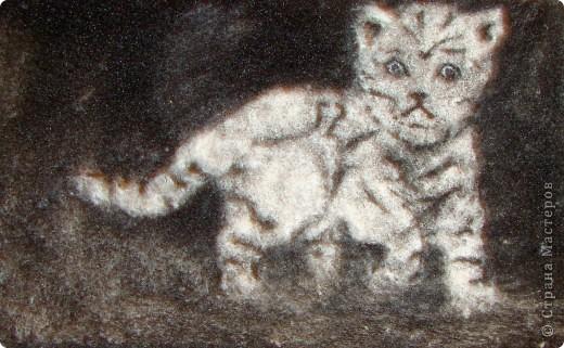 Белый тигрёнок идёт по заснеженному лесу.