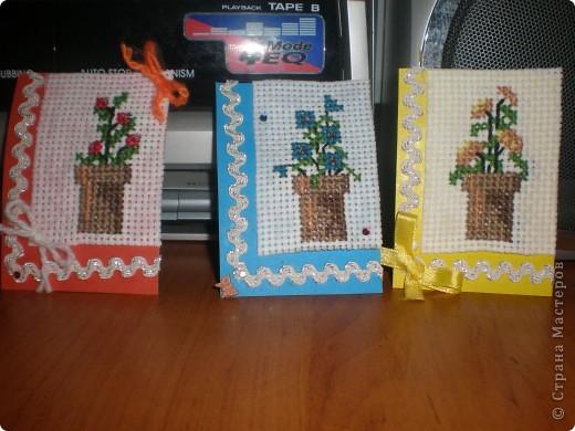 """Всем привет!!!! Вот моя очередная серия АТс карточек! Мне очень нравится вышивать крестом, поэтому и свою серию я решила """"вышить"""". Серия состоит всего из трех карточек.  фото 1"""