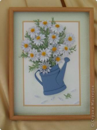 Картина панно рисунок Квиллинг ромашки Бумажные полосы фото 1.