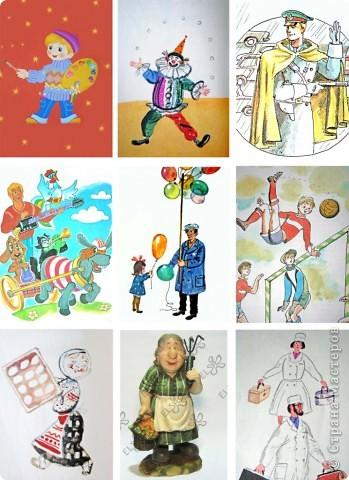 Вот собственно лото про профессии, которое я сделала для дочки.  Картинки брала из детских книжек, возможно, вы их уже узнали :)) Всего 4 поля. Каждая картинка распечатывается дважды: 1-я поле, 2-я режется на 9 составных частей - это вместо бочонков, тасуется, кладется картинками вниз фото 3