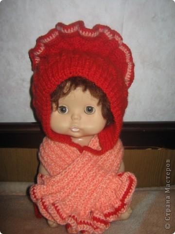 Шапочка и шарфик племяннице фото 1