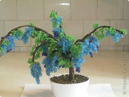 Бисероплетение - Дерево Голубая глициния из бисера.