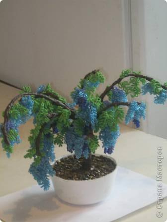 """Бисер можно использовать в очень...  Мое первое дерево  """"Голубая глициния """". обязательна."""