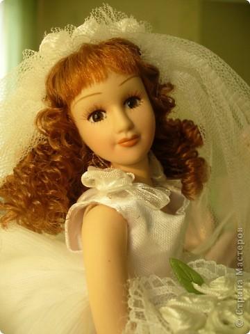Дама в зеленом. Эту куколку мне выслали из г. Братск. Кукла по формату такая же, как дамы эпохи, только у нее акриловые глазки и реснички.  фото 10