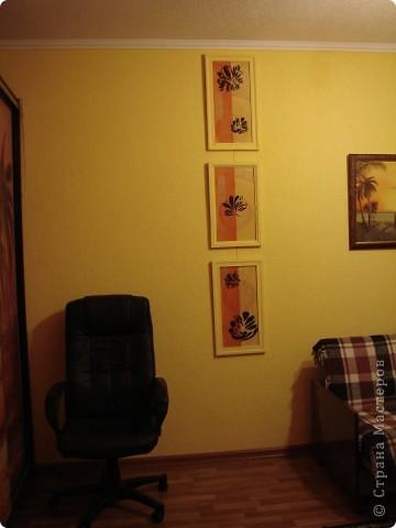 Ура, все готово. Триптих по задумке должен будет разделять визуально комнату. Цвет рам - цвет стен. Может кому то не понравиться идея цета рам в цвет стен, просто по задумке этот триптих должен быть, но особо не выделяться, т.е. как бы растворяться немного на стене. фото 2