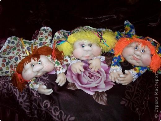 Сшила одну куколку по МК Елены http://stranamasterov.ru/user/40274, и увлеклась.  Вот такая неземная красота у меня родилась, учусь делать разные мордочки, занятие очень увлекательное. Так забавно наблюдать за тем какая мимика прорисовывается, ох, полюбились мне эти шкоды)))) фото 7
