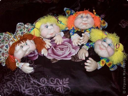 Сшила одну куколку по МК Елены http://stranamasterov.ru/user/40274, и увлеклась.  Вот такая неземная красота у меня родилась, учусь делать разные мордочки, занятие очень увлекательное. Так забавно наблюдать за тем какая мимика прорисовывается, ох, полюбились мне эти шкоды)))) фото 8