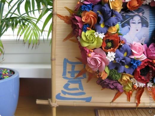 Вот такое получилось панно. Размер 60х60 см. Для основы бамбуковое полотно, бамбуковые палки, распечатка, акриловые краски, лак. фото 12