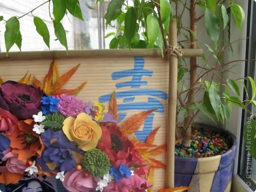 Вот такое получилось панно. Размер 60х60 см. Для основы бамбуковое полотно, бамбуковые палки, распечатка, акриловые краски, лак. фото 13
