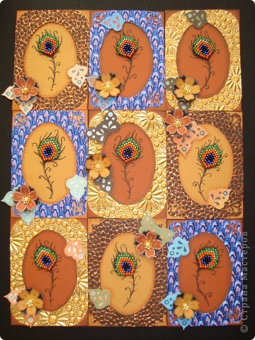 Для серии использовала: Фактурную бумагу с блеском, японский золотой и чешский бисер. Приглашаю девочек, которым должна: Танечка Имполитова, Анечка Ку, Bibka. Шмыга и Ксюша-Токалка, если что, сделаю вам морские звёзды. А также, приглашаю на дружеско-подарочный обмен дорогую Юность! фото 1