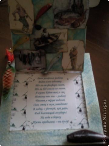 Пригласили меня на ДР папы подруги, а он рыбак, вот и родилась такая открытка поздравление)))).....видите торчит хвостик от рыбки))))))см.последнюю фотку) фото 3