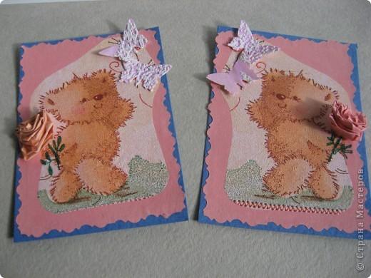 """Получила красивую салфеточку с мишками в подарок с карточкой АТС, не могла не приспособить её в дело. Такая детская серия  """" Мишки"""" у меня получилась. Но просто аппликация - это не интересно, добавила объёмных квиллинговых цветов. Первыми приглашаю к выбору своих многочисленных кредиторов (если понравится), всем остальным отвечу после них. фото 3"""