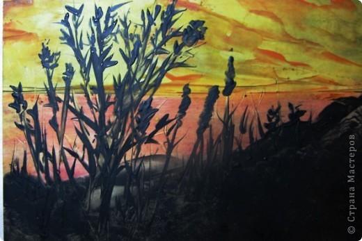 Я живу в степном краю. Необъятный простор.Балки (так у нас называют овраги), речки, пруды, камыши.Наша природа красива по-своему.В своей работе я хотела передать красоту нашего края в сумерках на закате солнца. Надеюсь, что мне это удалось. фото 1