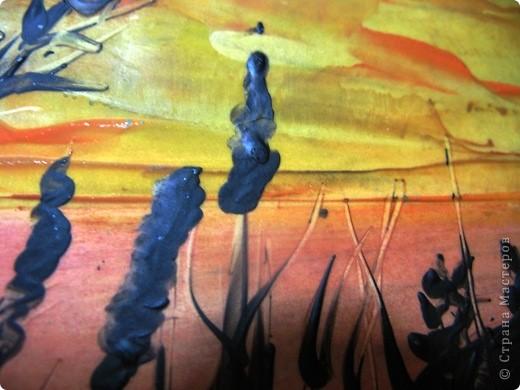 Я живу в степном краю. Необъятный простор.Балки (так у нас называют овраги), речки, пруды, камыши.Наша природа красива по-своему.В своей работе я хотела передать красоту нашего края в сумерках на закате солнца. Надеюсь, что мне это удалось. фото 3