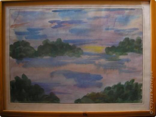 Картина №1 Закат. техника: акварель по-мокрому